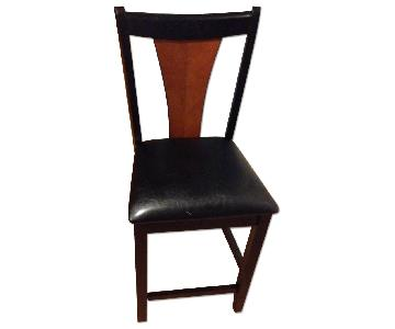 Amber/Black Finish Counter Height Chair w/ Black Leatherette Cushion Seat