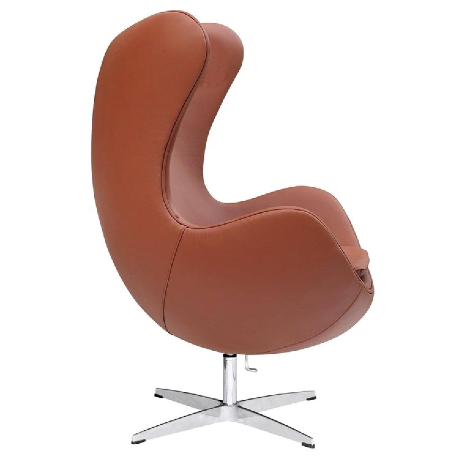 Mid-Century Style Egg Chair in Premium Light Brown Leather - image-1