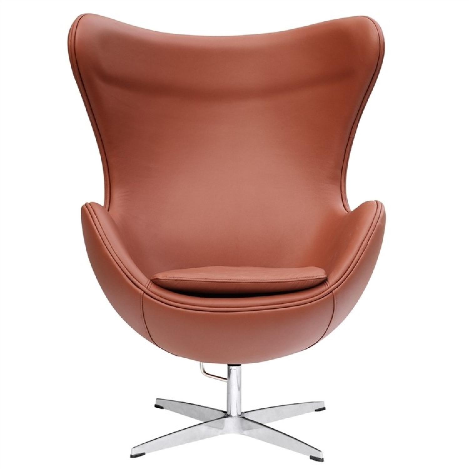 Mid-Century Style Egg Chair in Premium Light Brown Leather - image-2