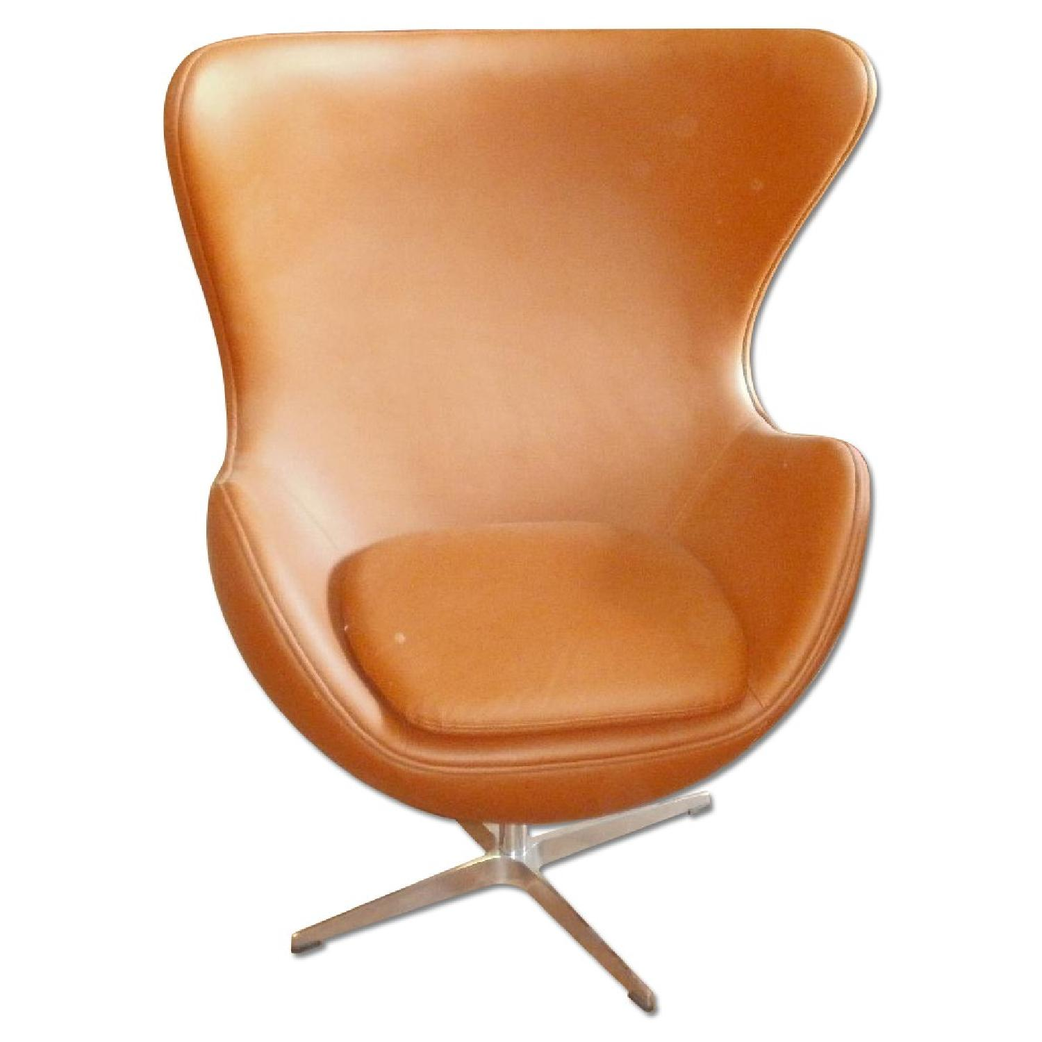 Mid-Century Style Egg Chair in Premium Light Brown Leather - image-0