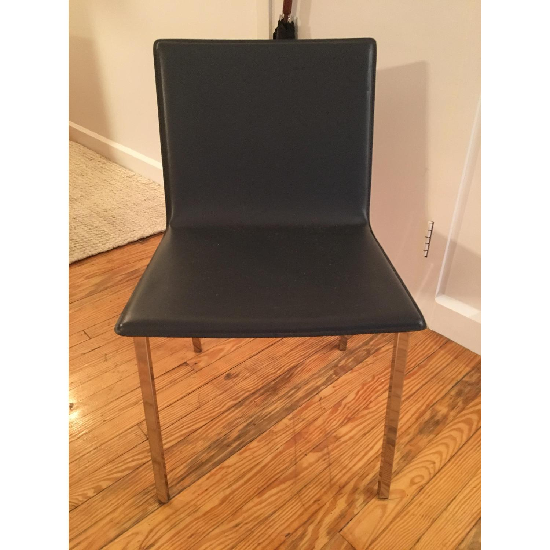 CB2 Dark Blue Leather Chairs w/ Chrome Metal Legs - image-2