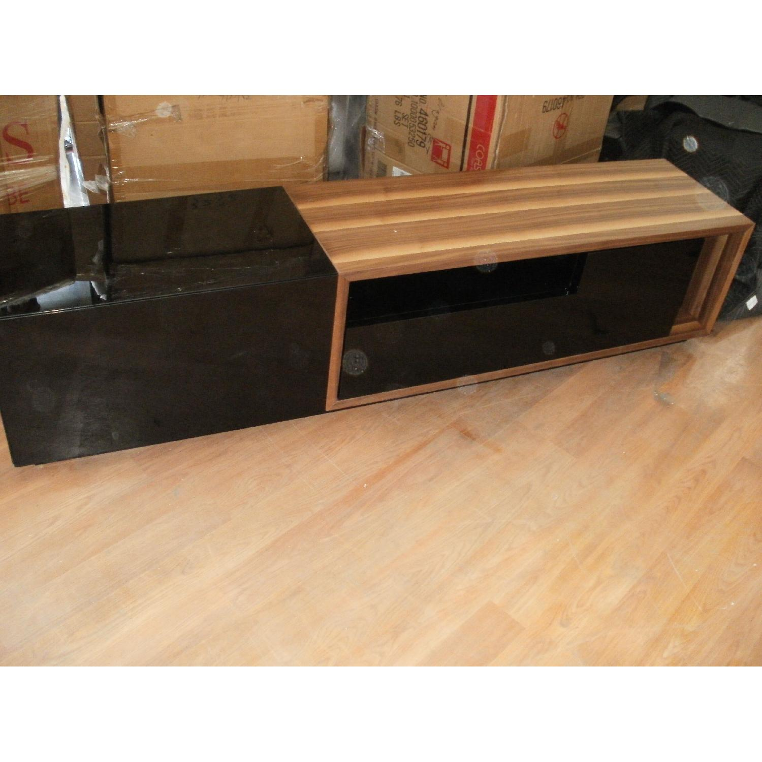 TV Stand w/ Walnut & Black Gloss Finish & Drawers - image-1