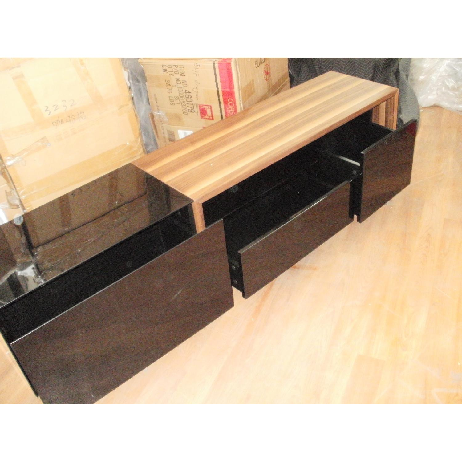 TV Stand w/ Walnut & Black Gloss Finish & Drawers - image-2