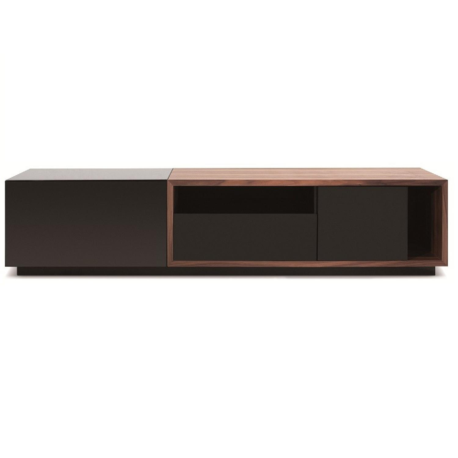 TV Stand w/ Walnut & Black Gloss Finish & Drawers - image-3