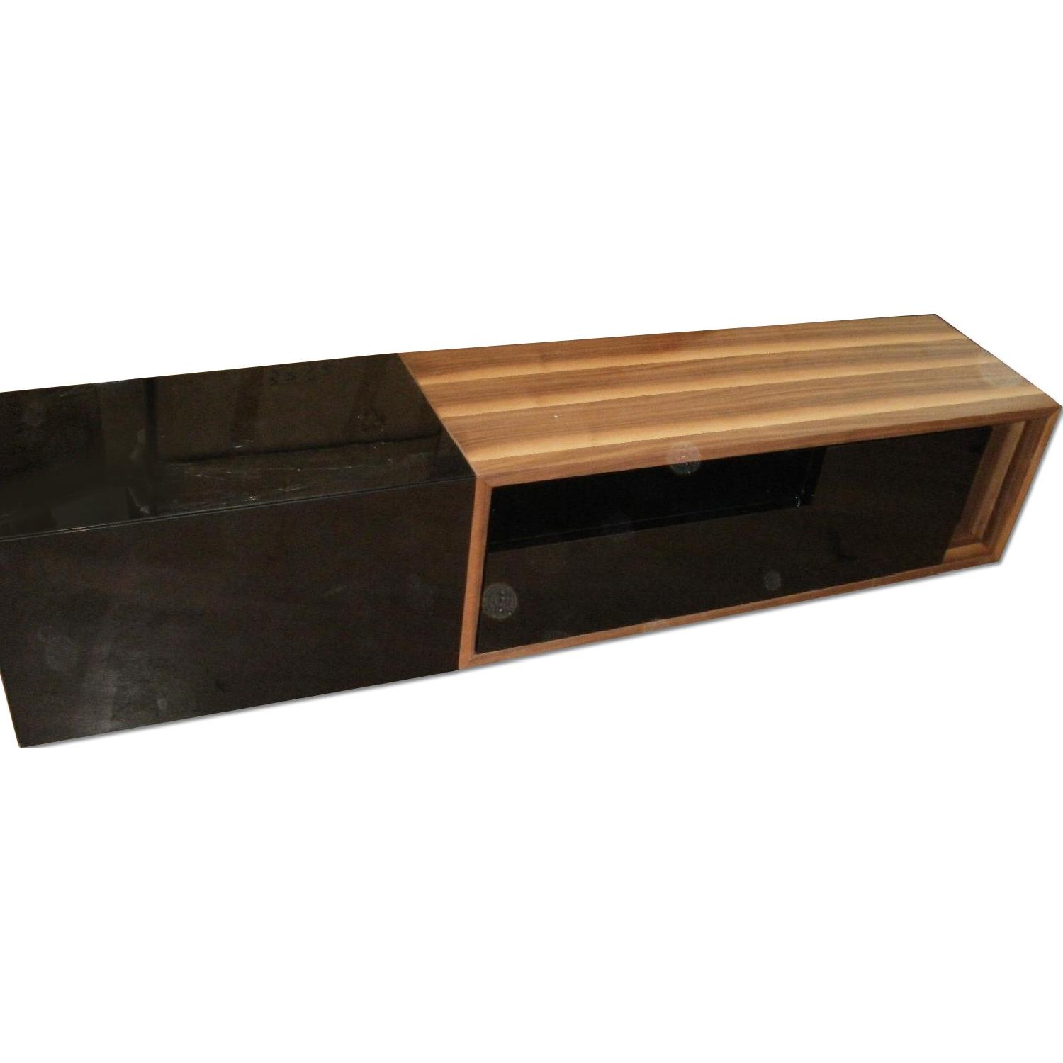 TV Stand w/ Walnut & Black Gloss Finish & Drawers - image-0