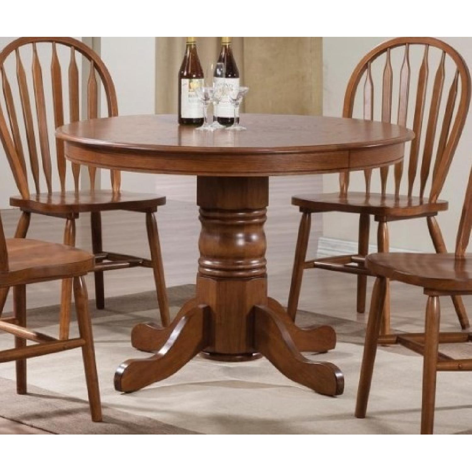 Country Style Round Pedestal Dining Table in Warm Oak Finish - image-2