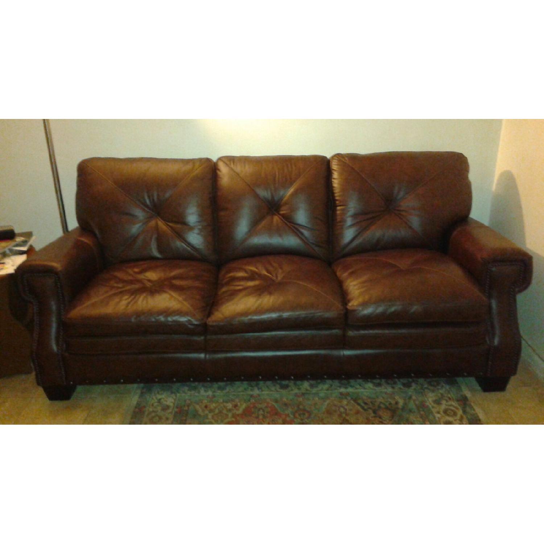 Bob's Lawrence Top Grain Leather Sofa w/ Ottoman - image-1