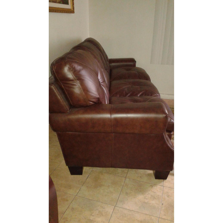 Bob's Lawrence Top Grain Leather Sofa w/ Ottoman - image-2