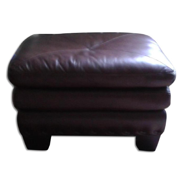 Bob's Lawrence Top Grain Leather Sofa w/ Ottoman - image-5
