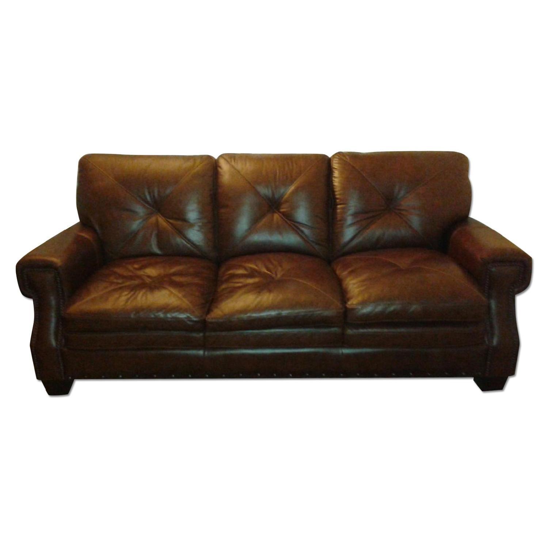 Bob's Lawrence Top Grain Leather Sofa w/ Ottoman - image-0