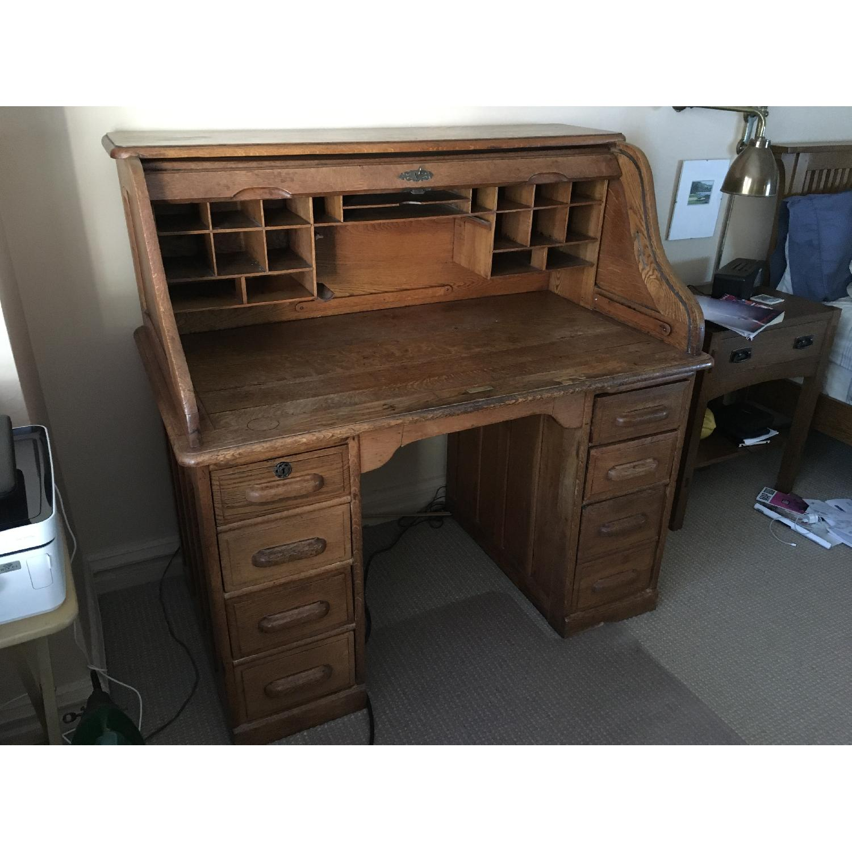 Antique Oak S-Shape Roll-Top Desk - image-2