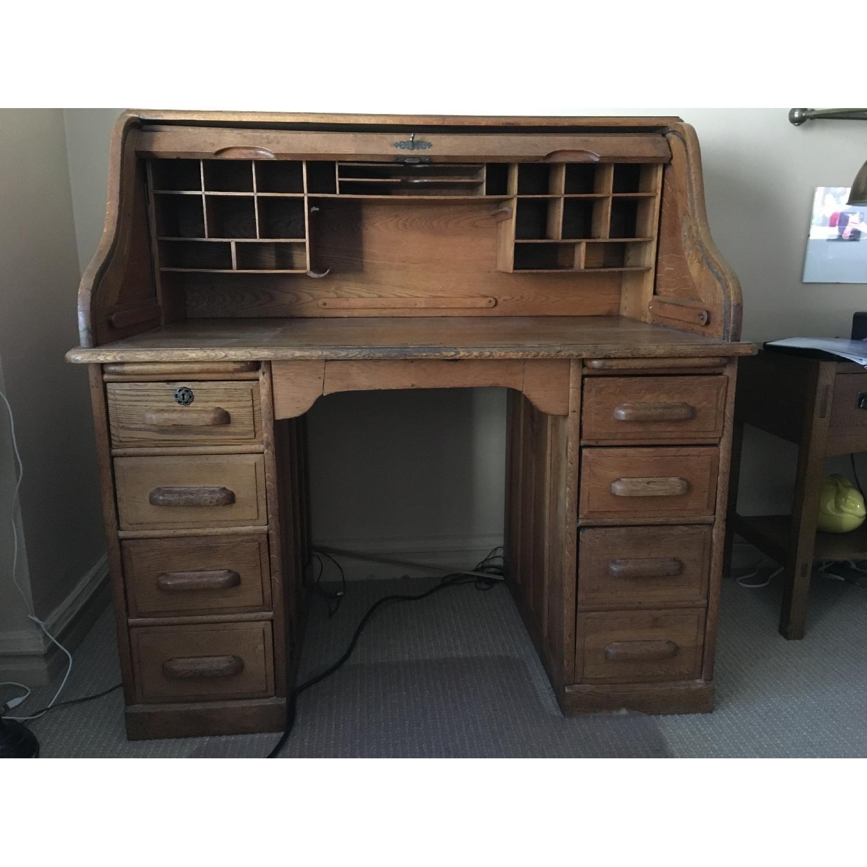 Antique Oak S-Shape Roll-Top Desk - image-3