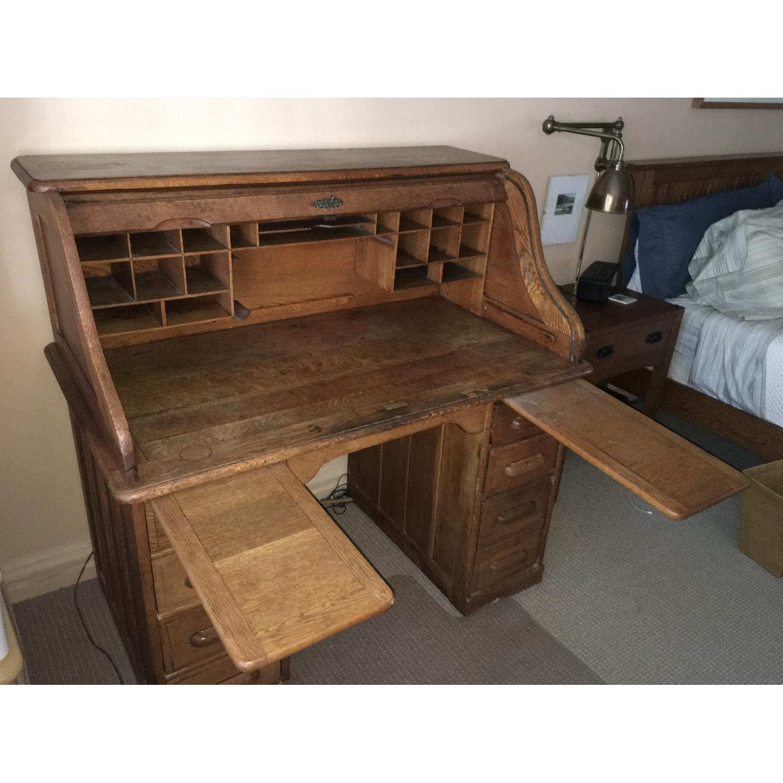 Antique Oak S-Shape Roll-Top Desk - image-4