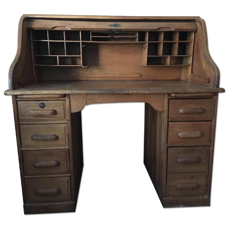 Antique Oak S-Shape Roll-Top Desk - image-0