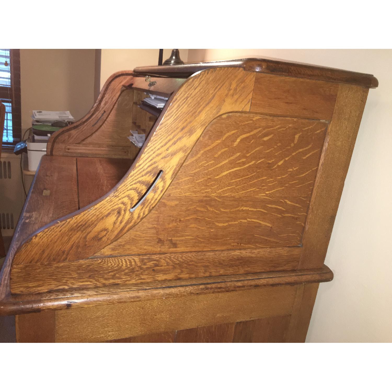 Antique Oak S-Shape Roll-Top Desk - image-10