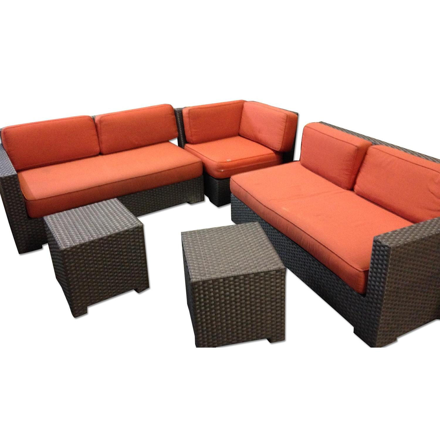 Crate & Barrel Ventura Modular 3 Piece Sectional & 2 Bunching Tables - image-0