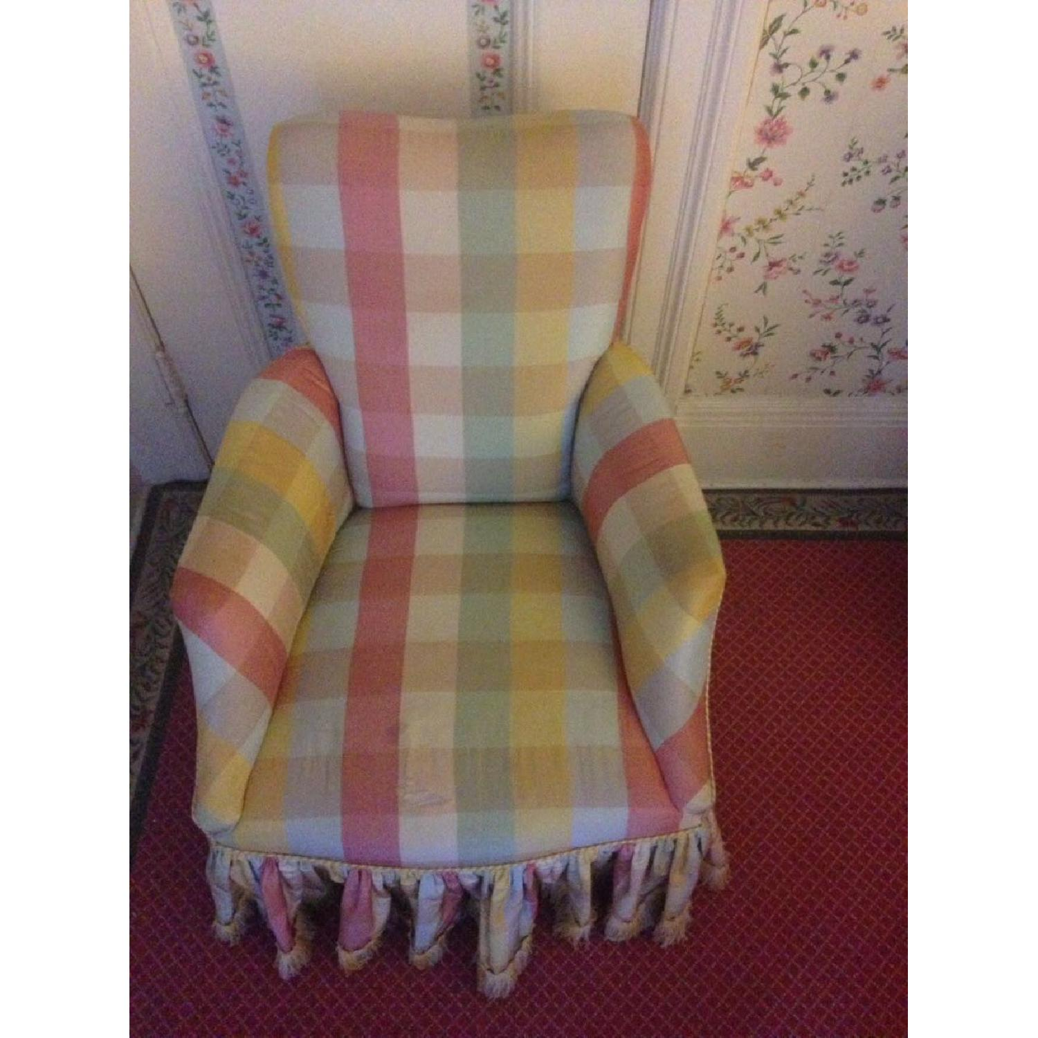 Small Chair w/ Check Silk - image-1