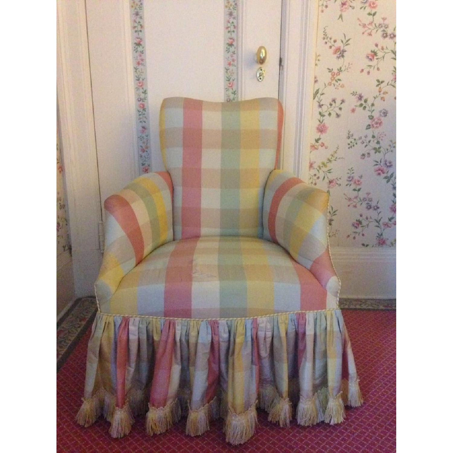 Small Chair w/ Check Silk - image-6