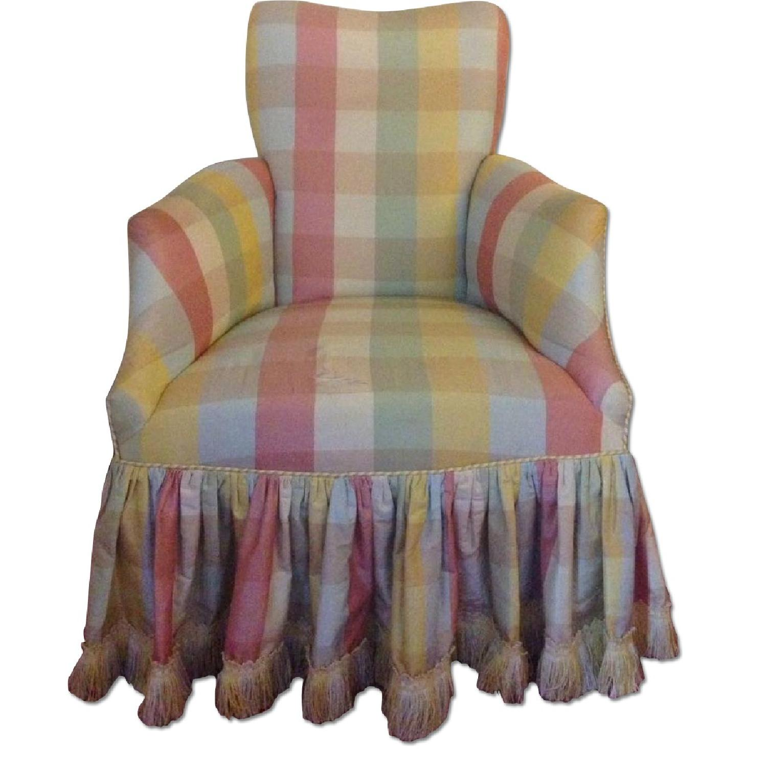 Small Chair w/ Check Silk - image-0