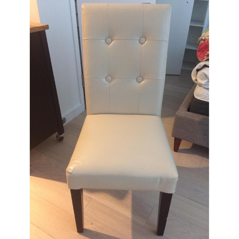 Cream Upholstered Chair w/ Dark Wooden Legs - image-1