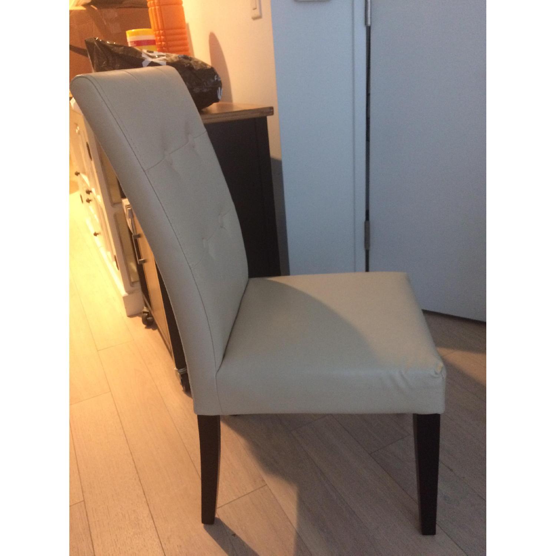 Cream Upholstered Chair w/ Dark Wooden Legs - image-3