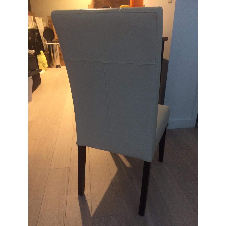 Cream Upholstered Chair w/ Dark Wooden Legs - image-4