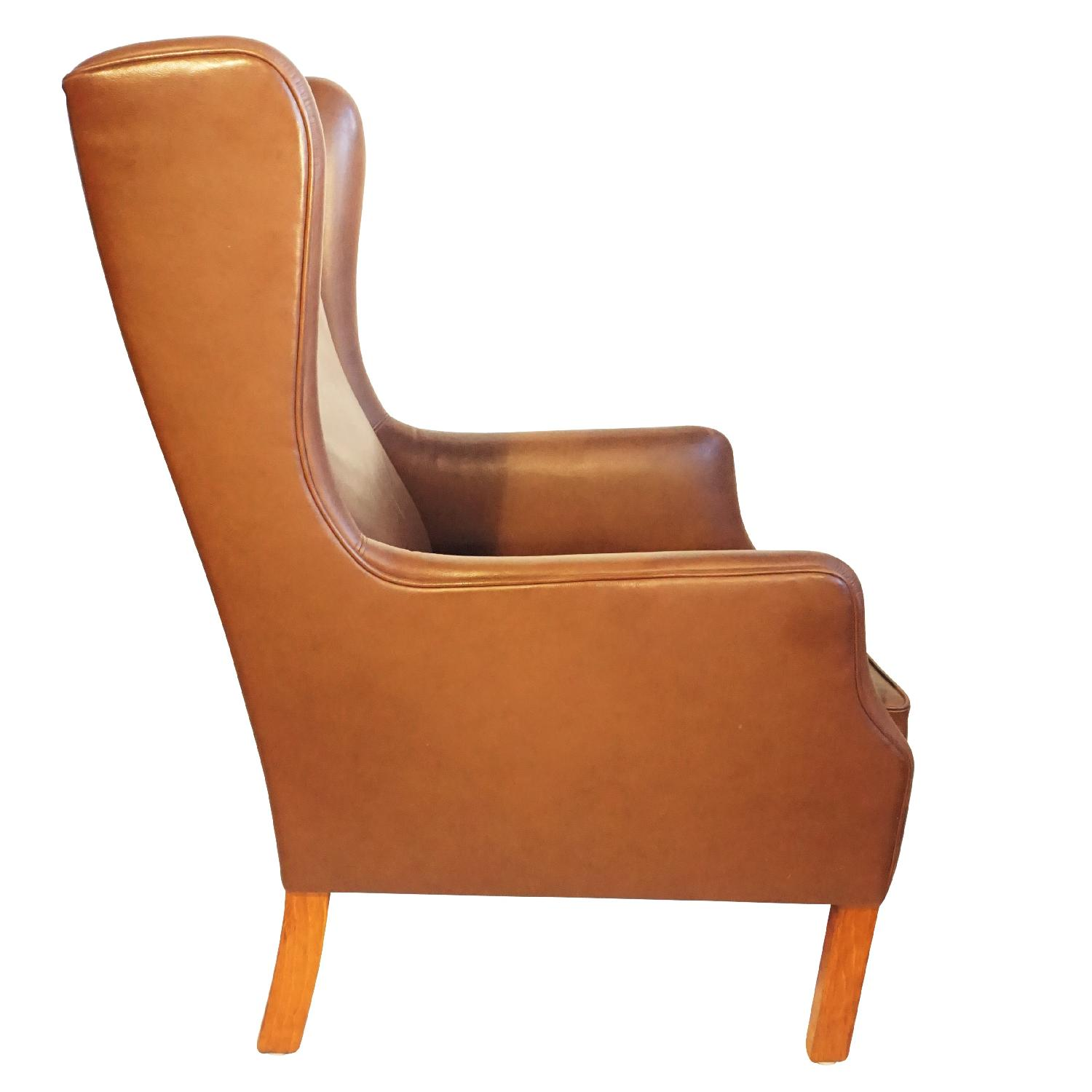 Danish Wingback Leather Lounge Chair - image-1