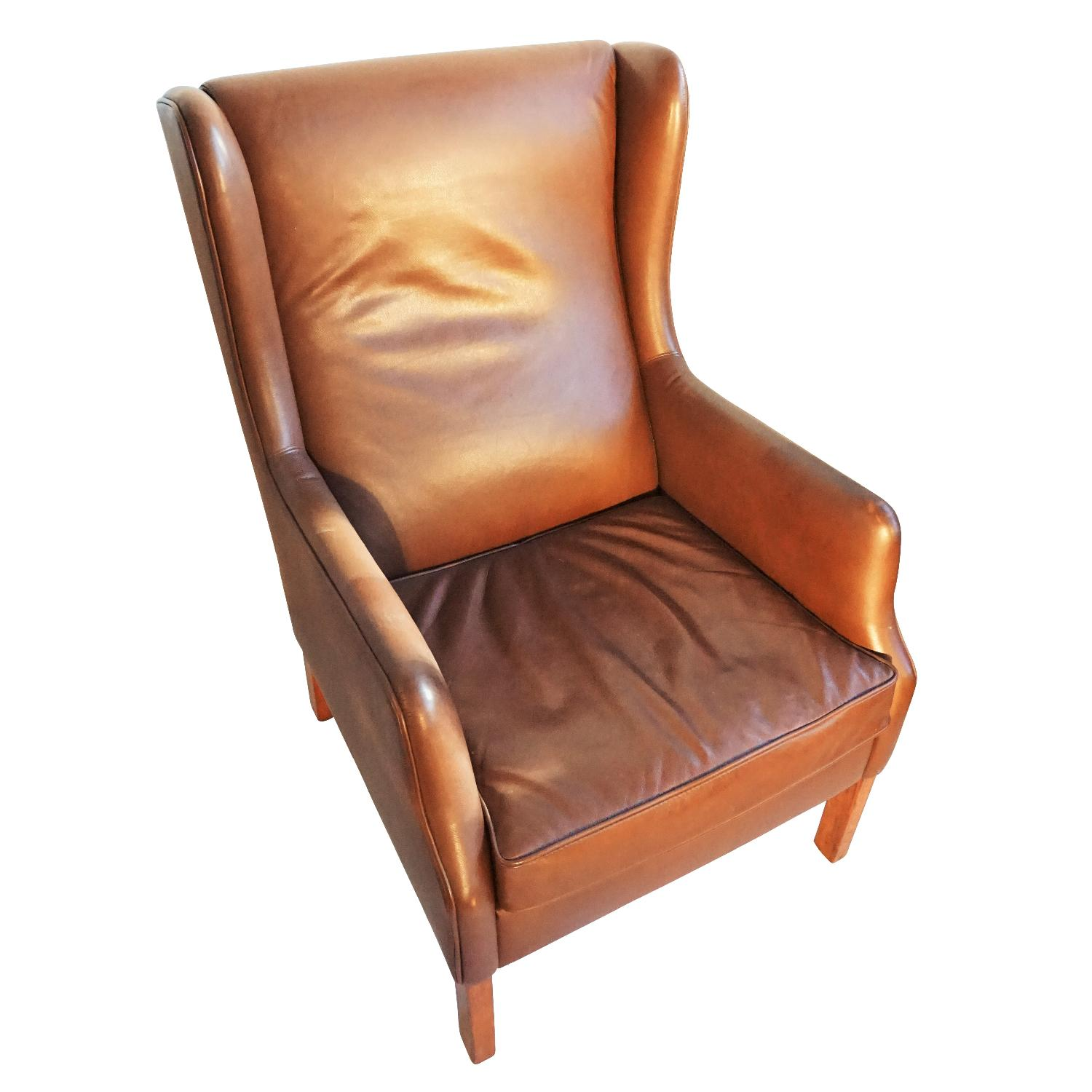 Danish Wingback Leather Lounge Chair - image-2