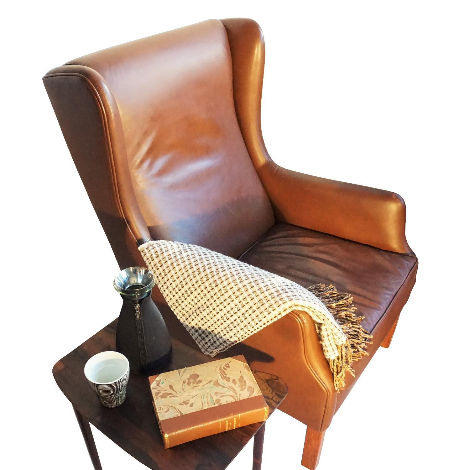 Danish Wingback Leather Lounge Chair - image-3