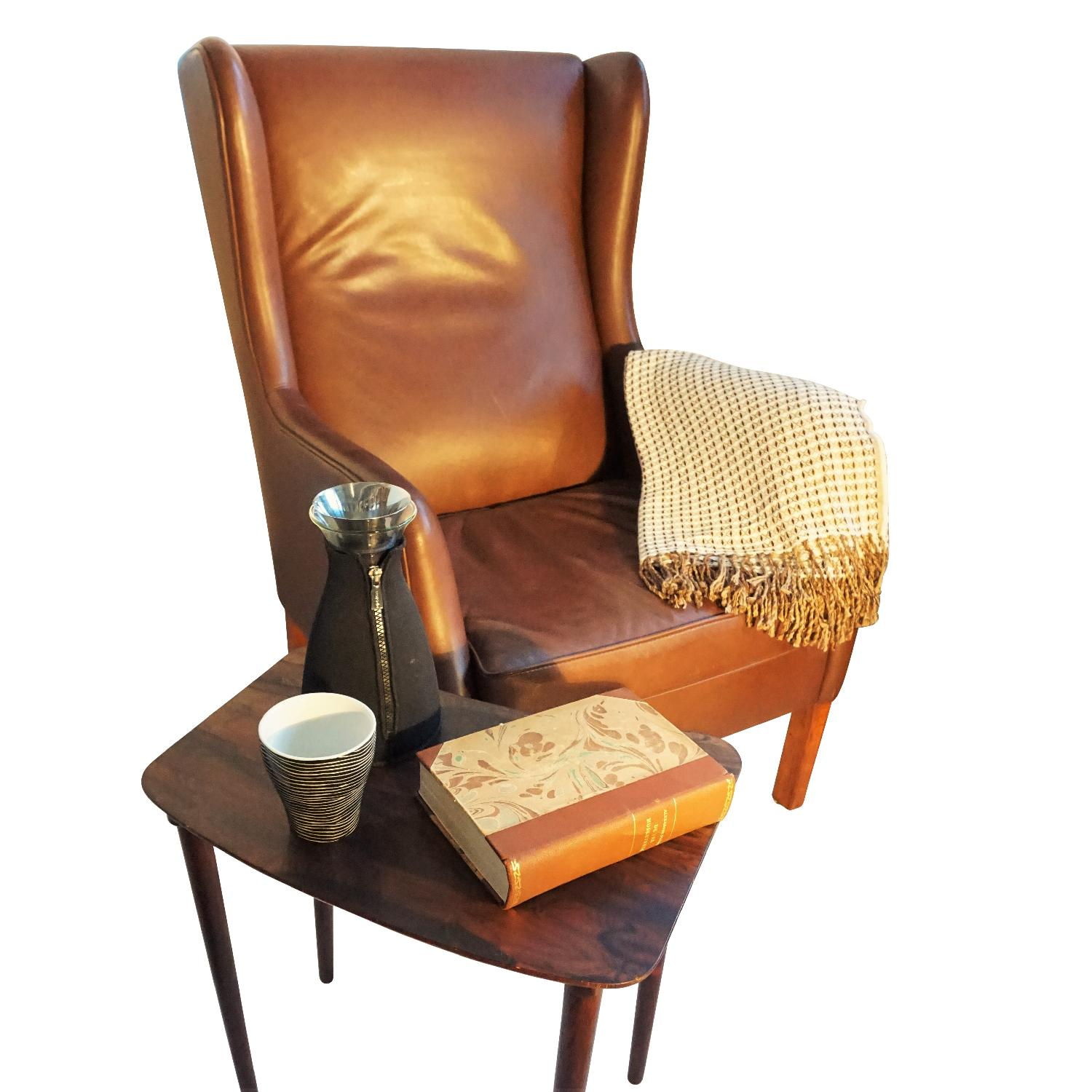 Danish Wingback Leather Lounge Chair - image-4