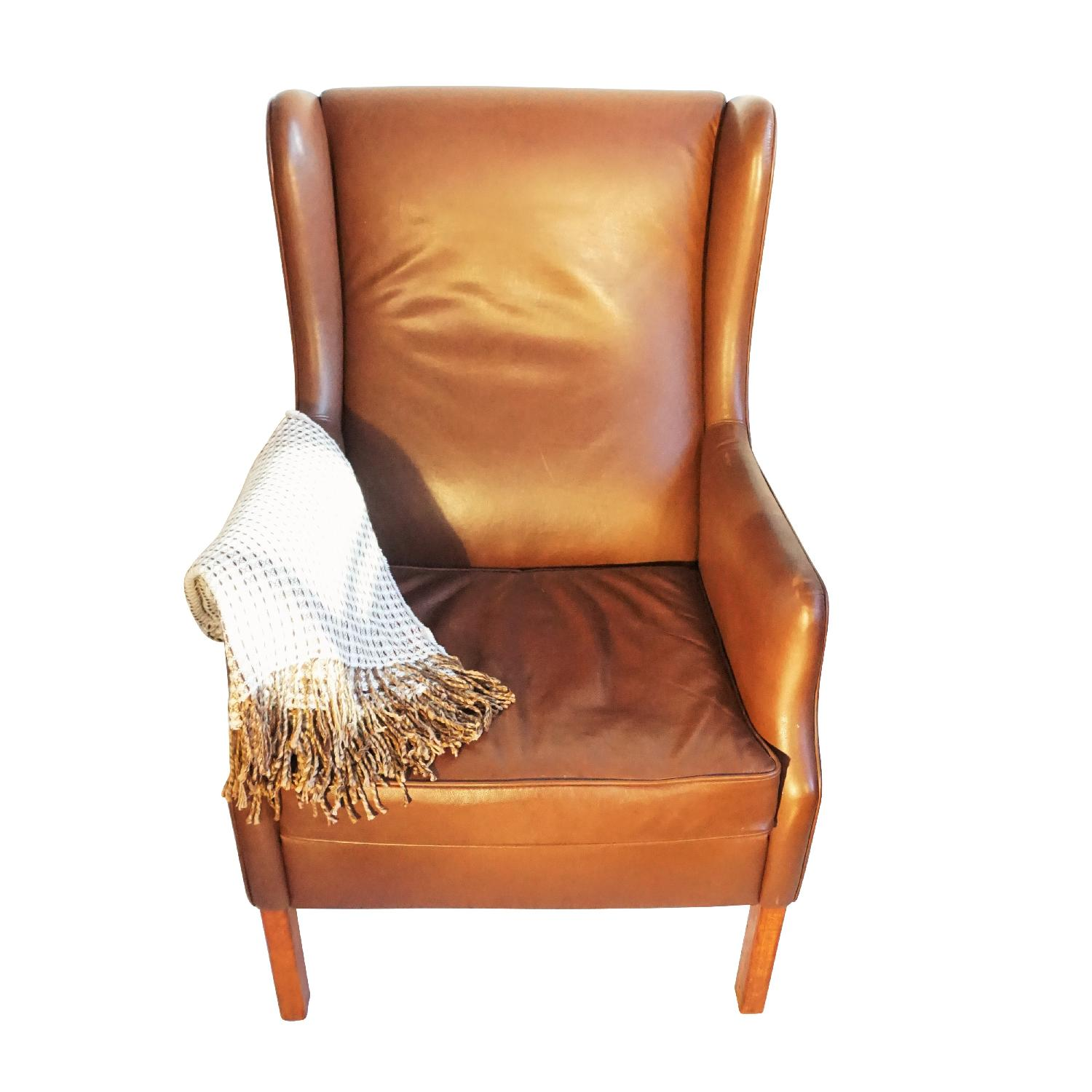 Danish Wingback Leather Lounge Chair - image-5