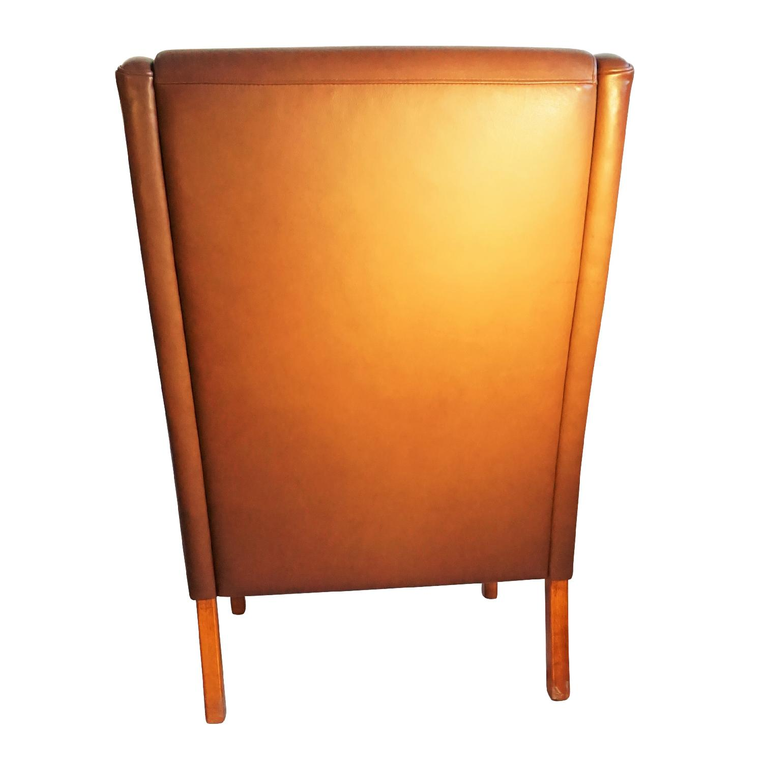 Danish Wingback Leather Lounge Chair - image-6