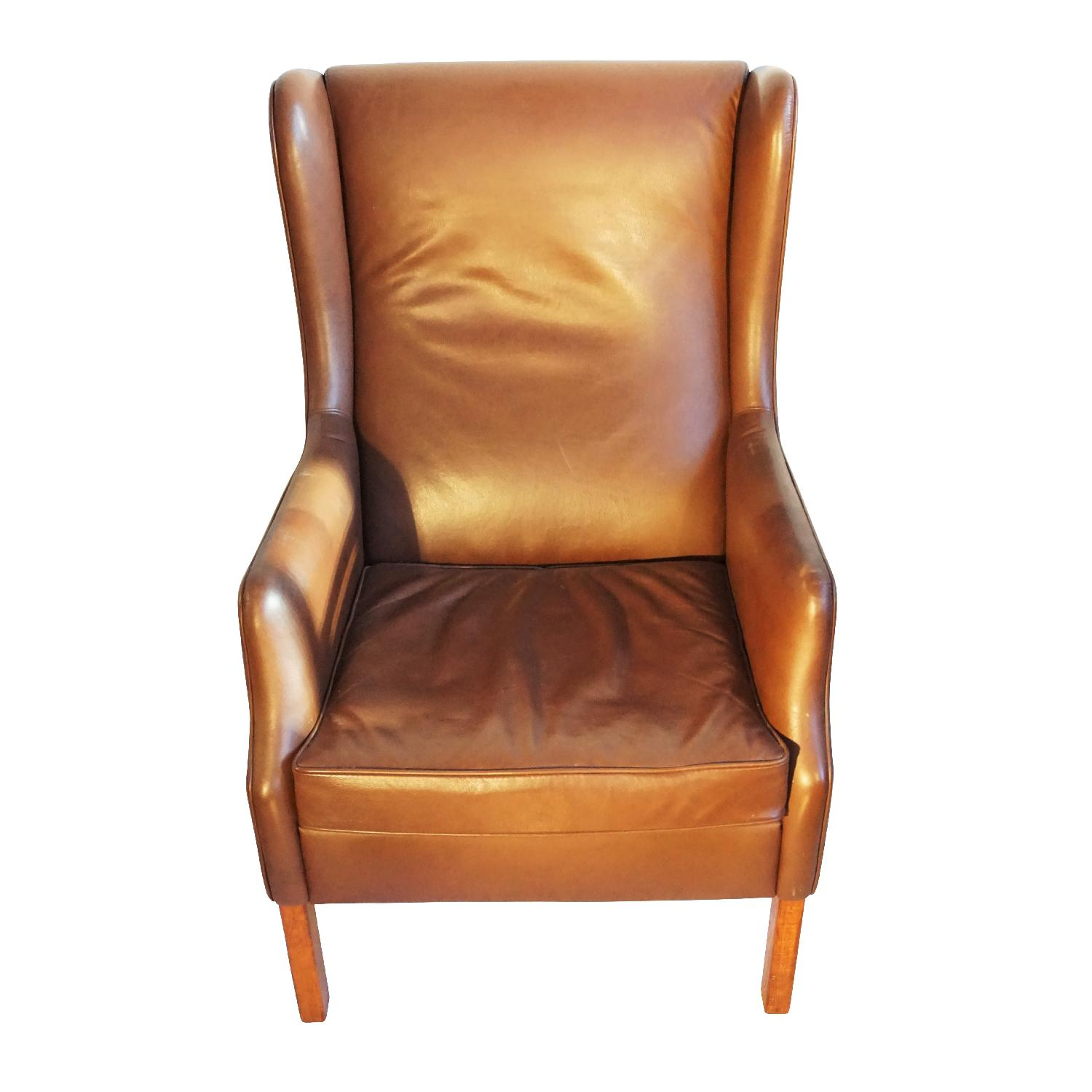 Danish Wingback Leather Lounge Chair - image-0
