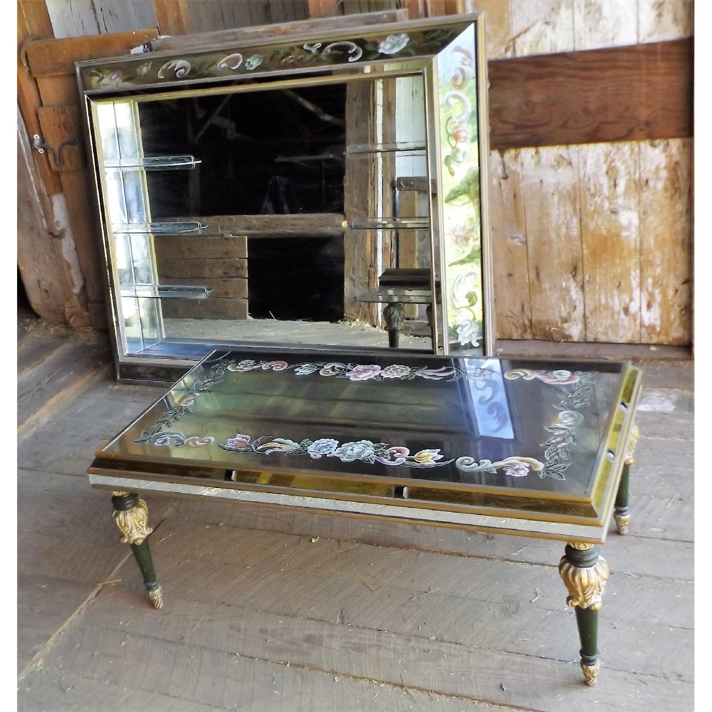Art Nouveau Mirrored Wall Liquor Shadow Box + Matching Coffee Table - image-1
