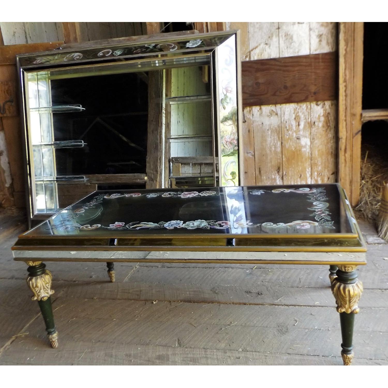 Art Nouveau Mirrored Wall Liquor Shadow Box + Matching Coffee Table - image-2