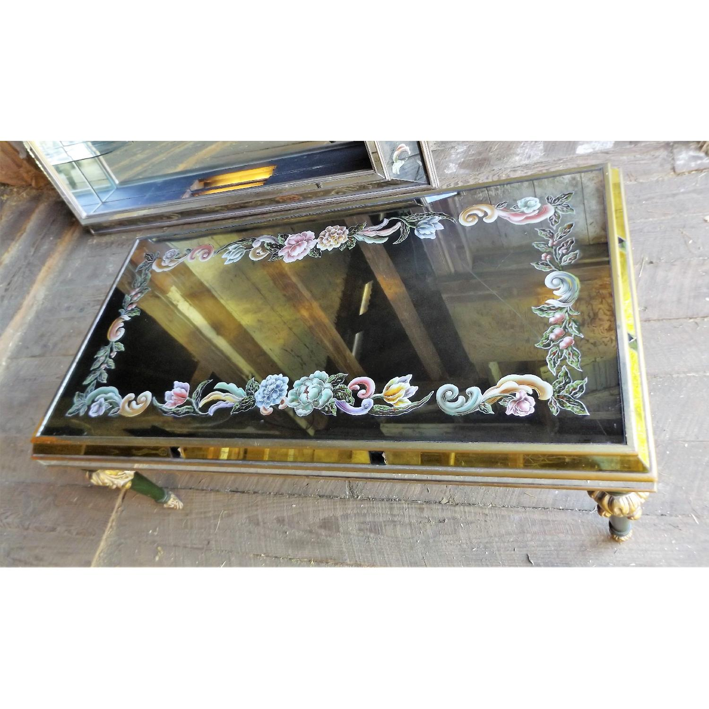 Art Nouveau Mirrored Wall Liquor Shadow Box + Matching Coffee Table - image-4