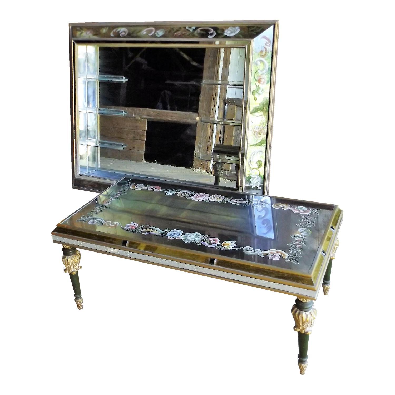 Art Nouveau Mirrored Wall Liquor Shadow Box + Matching Coffee Table - image-0