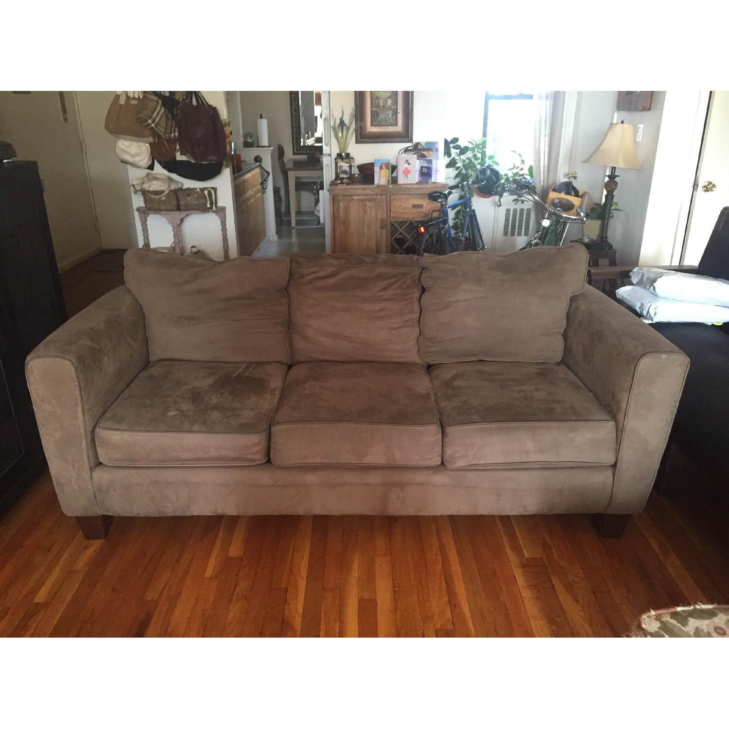 Olive Microsuede 3-Seater Couch & Ottoman - image-1
