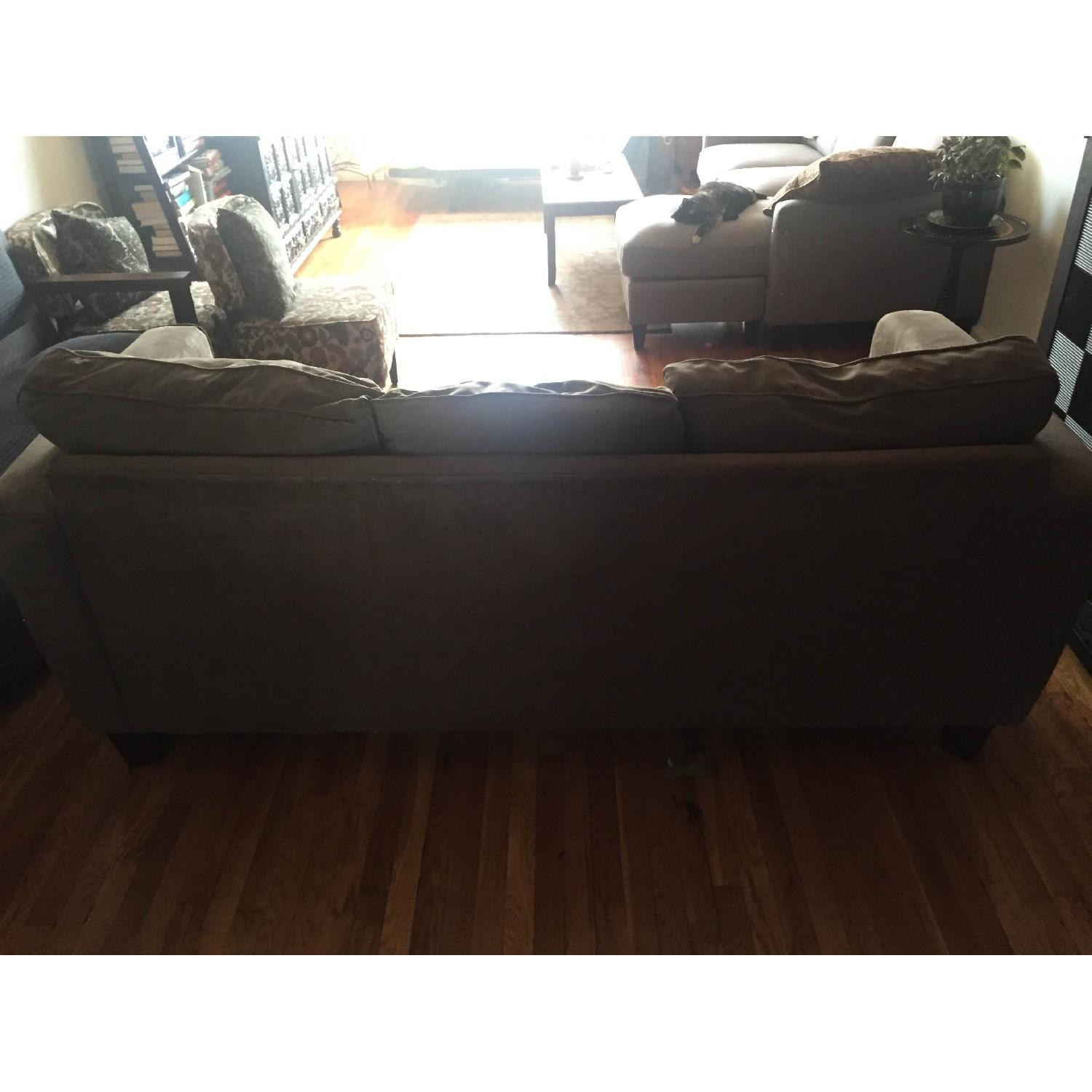 Olive Microsuede 3-Seater Couch & Ottoman - image-3