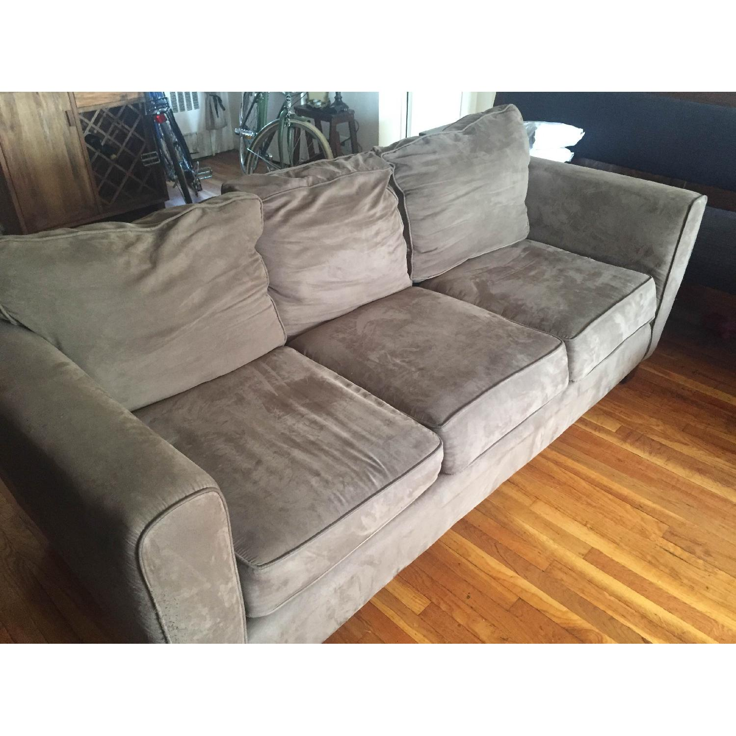 Olive Microsuede 3-Seater Couch & Ottoman - image-4