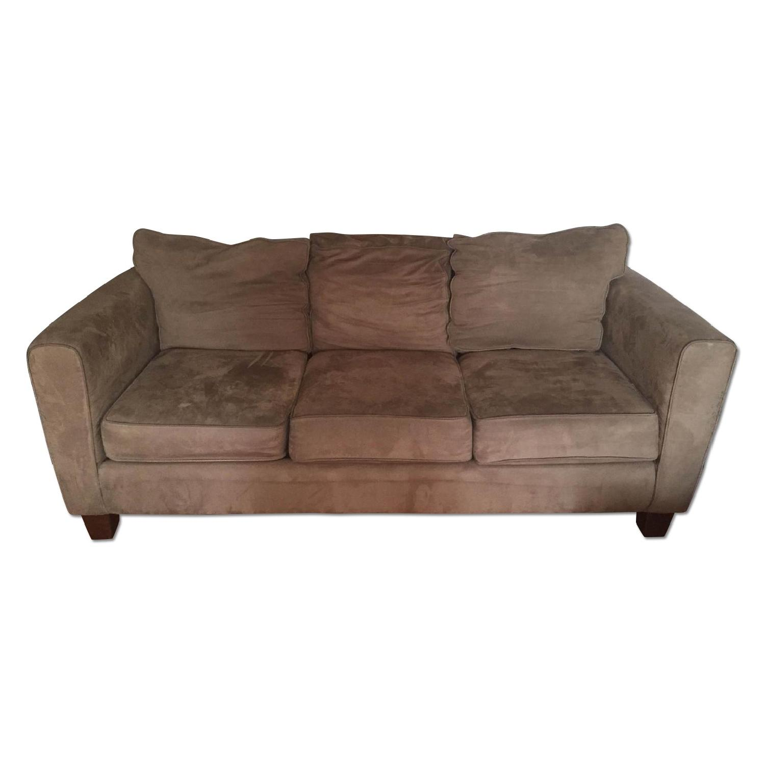 Olive Microsuede 3-Seater Couch & Ottoman - image-0
