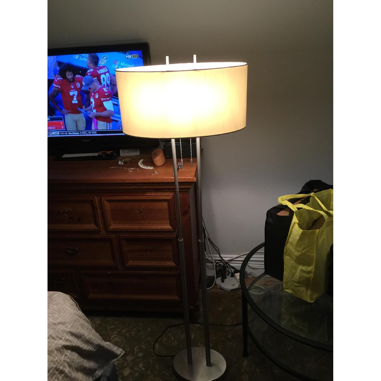Silver Modern Metal Lamp w/ Oval Shade - image-1