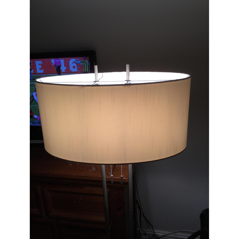 Silver Modern Metal Lamp w/ Oval Shade - image-2