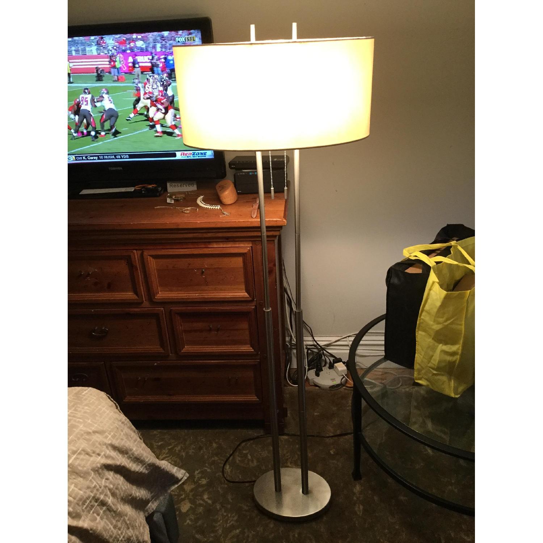 Silver Modern Metal Lamp w/ Oval Shade - image-4