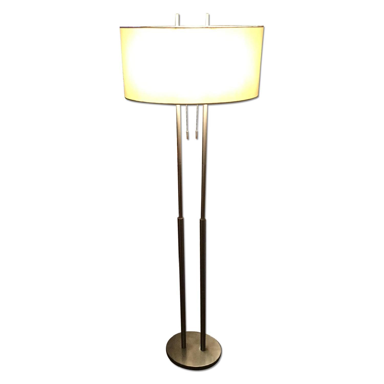 Silver Modern Metal Lamp w/ Oval Shade - image-0