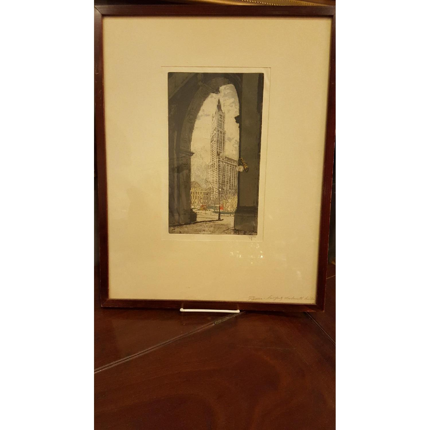 Hans Figura c1930 Etching - The Woolworth Building - image-1