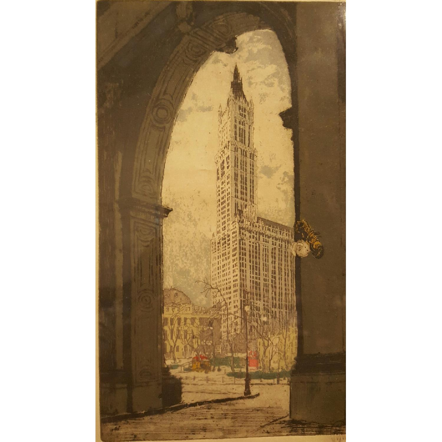 Hans Figura c1930 Etching - The Woolworth Building - image-2