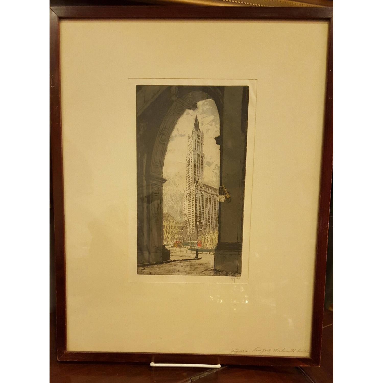 Hans Figura c1930 Etching - The Woolworth Building - image-3