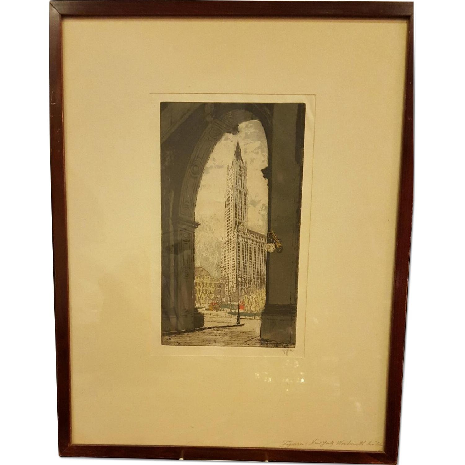 Hans Figura c1930 Etching - The Woolworth Building - image-0