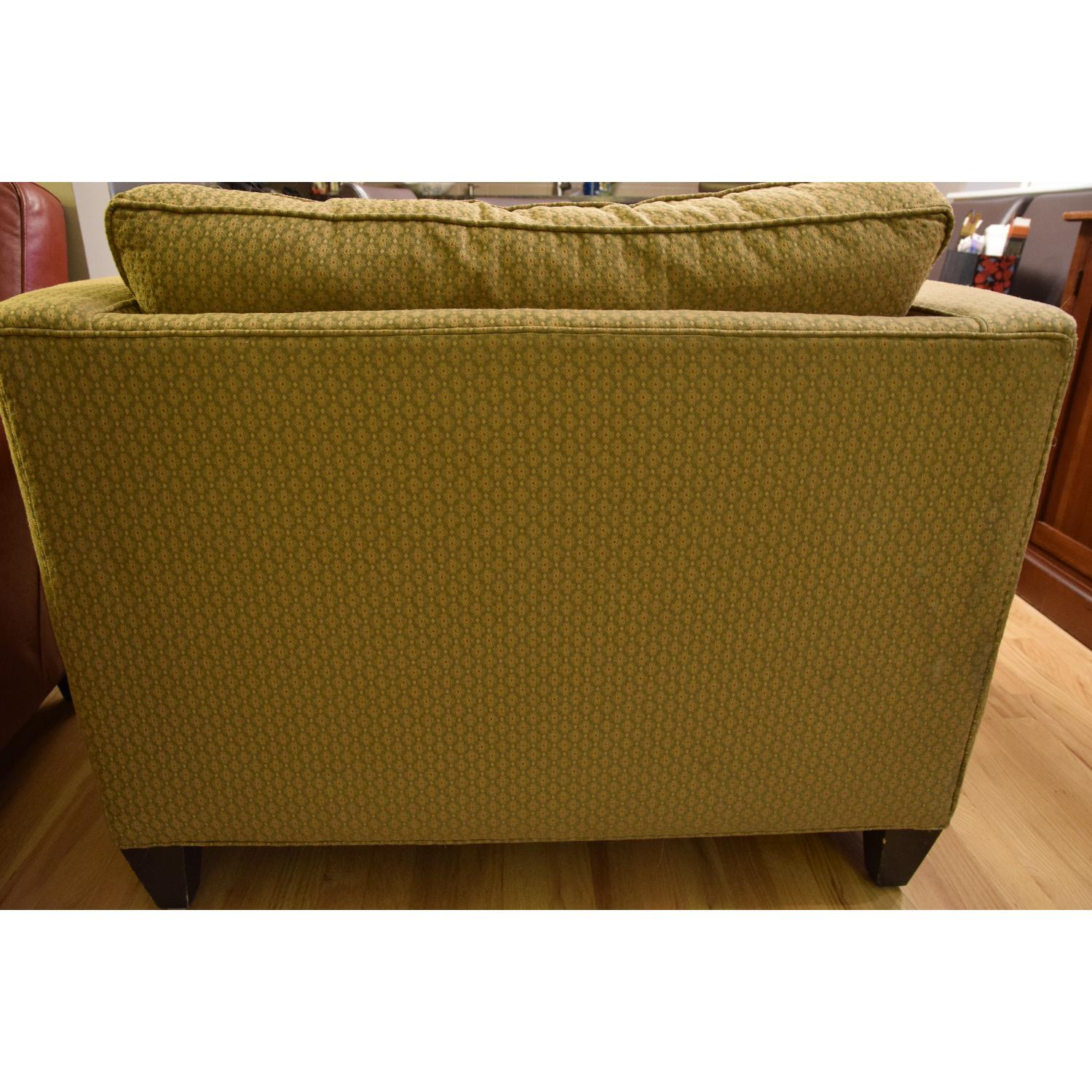 Ethan Allen Green & Gold Chair & a Half - image-4